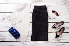 коллаж собрания одежды ` s женщин Стоковое Изображение
