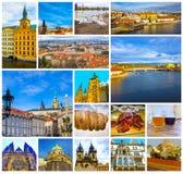 Коллаж старого городка Праги, чехии стоковая фотография rf