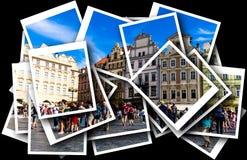 Коллаж старой городской площади с туристами в Праге, чехии Стоковая Фотография
