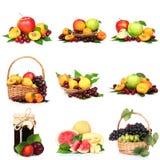 Коллаж с вкусными плодоовощами лета Стоковая Фотография RF