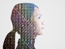 коллаж с различными эмоциями в такой же женщине стоковые изображения rf
