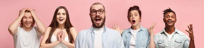 Коллаж удивленных людей стоковая фотография