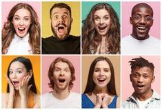 Коллаж удивленных людей Стоковые Фото