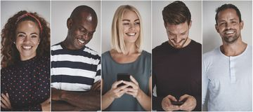 Коллаж усмехаясь группы в составе разнообразные предприниматели стоковая фотография