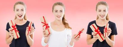 Коллаж, установил счастливых женщин с подарочными коробками на розовой предпосылке, концепции праздника стоковая фотография rf