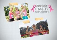 Коллаж фото осведомленности текста и рака молочной железы осведомленности рака молочной железы и бег марафона Стоковые Фотографии RF