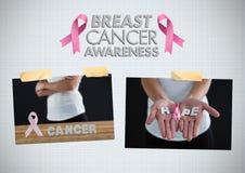 Коллаж фото осведомленности текста и рака молочной железы осведомленности рака молочной железы Стоковое Фото