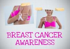 Коллаж фото осведомленности текста и рака молочной железы осведомленности рака молочной железы Стоковая Фотография