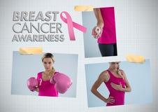 Коллаж фото осведомленности текста и рака молочной железы осведомленности рака молочной железы Стоковые Фото