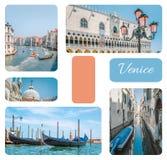 Коллаж фото от Венеции - гондол, каналов, уличных светов с розовым стеклом, дворцом доджа, комплектом изображений перемещения, Ве стоковые изображения