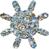 Коллаж фото перемещения - солнце фото мозаики Стоковое Изображение
