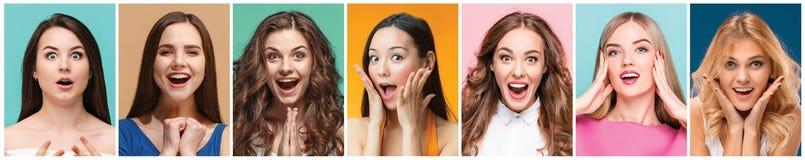 Коллаж фото привлекательных усмехаясь счастливых женщин Стоковая Фотография