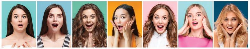 Коллаж фото привлекательных усмехаясь счастливых женщин Стоковая Фотография RF