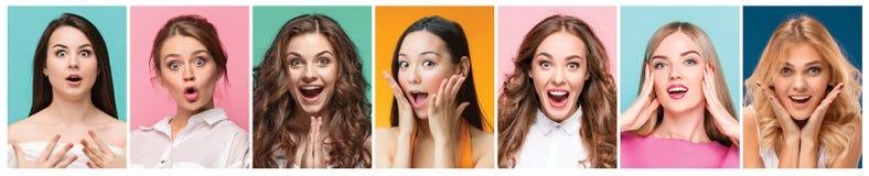 Коллаж фото привлекательных усмехаясь счастливых женщин Стоковые Изображения RF