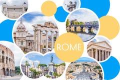 Коллаж фото солнечного Рима - римского форума, Colosseum, каменного моста Святого Анджела, пантеона, аркады Venezia, квадрата ` s Стоковое Изображение RF
