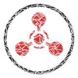 Коллаж химической войны агента нервно-паралитического действия WMD треугольников иллюстрация штока