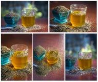 Коллаж черных семян тимона, jerra shah, Nigella sativa и своего чая на коричневой деревянной поверхности ; стоковое фото rf