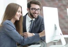 Коллеги обсуждая информацию на компьютере Стоковое Фото