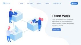 Коллеги объединяются в команду страница работы равновеликая приземляясь иллюстрация вектора