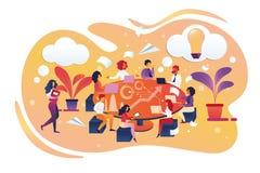 Коллективно обсуждать и искать для новой концепции идеи иллюстрация штока