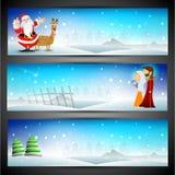 Коллектор вебсайта с Рождеством Христовым или комплект знамени. бесплатная иллюстрация