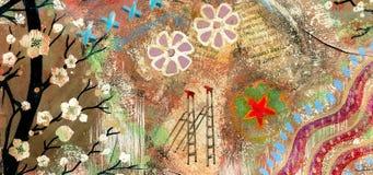 Коллектор искусства год сбора винограда grunge Scrapbooking иллюстрация вектора
