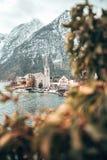 Колокольня деревни Hallstatt через листья стоковая фотография rf