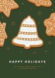 Колокол пряника рождественской открытки с праздниками поливы и надписи счастливыми на зеленой предпосылке Стоковая Фотография