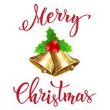 Колокол рождества с рукописным текстом Стоковое Изображение