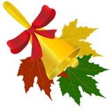 Колокол с красной иллюстрацией смычка и кленовых листов Стоковые Фото