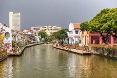 Колониальные дома на ЮНЕСКО перечислили раздел канала Melaka Riv Стоковое фото RF