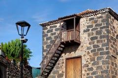 Колониальный сельский фасад дома в Tacoronte, Tenerife Стоковые Фото
