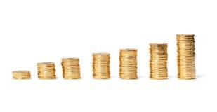 Колонки золотистых монеток Стоковые Фотографии RF