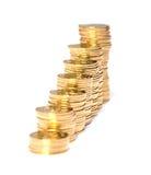 Колонки золотистых монеток Стоковое Фото