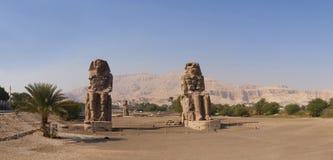 Колоссы Memnon, Луксора, каменных скульптур Стоковые Фотографии RF