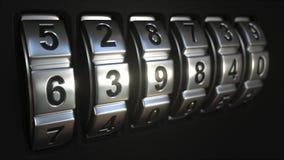 Кольца замка кода останавливают вращение на слове ЗАПЕРТОМ акции видеоматериалы