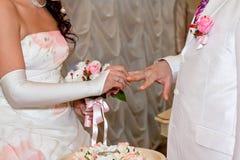 Кольца одина другого износа невесты и groom Стоковые Фотографии RF