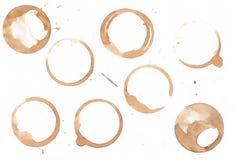 Кольца пятна кофе изолированные на белой предпосылке Стоковые Фотографии RF