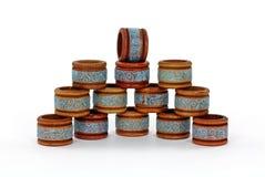 кольца салфетки старые штабелируют деревянное Стоковое Фото