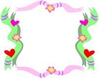 кольца тесемок сердец рамки цветков Стоковые Изображения