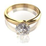 Кольцо большого диаманта золотистое Стоковая Фотография
