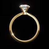 Кольцо диаманта - изолированное на черной предпосылке Стоковые Изображения