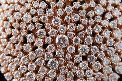 кольцо диаманта крупного плана золотистое микро- Стоковое Изображение