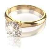 Кольцо диаманта на белой предпосылке Стоковые Изображения RF