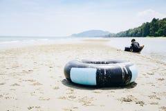 Кольцо жизни на пляже, кольцо жизни на песке на сыне Pradi Suan Стоковые Фото