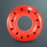 Кольцо заплыва Раздувная резиновая игрушка Реалистическая иллюстрация летнего времени Дизайн арбуза Круг заплывания взгляд сверху иллюстрация штока