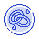 Кольцо, захват, обручальное кольцо, обручальное кольцо, линия значок голубой пунктирной линии любов иллюстрация вектора