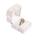 кольцо золота диаманта коробки Стоковые Фотографии RF