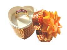 кольцо золота коробки глянцеватое Стоковые Изображения RF