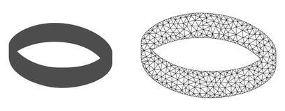 Кольцо золота сетки рамки провода вектора и плоский значок иллюстрация вектора